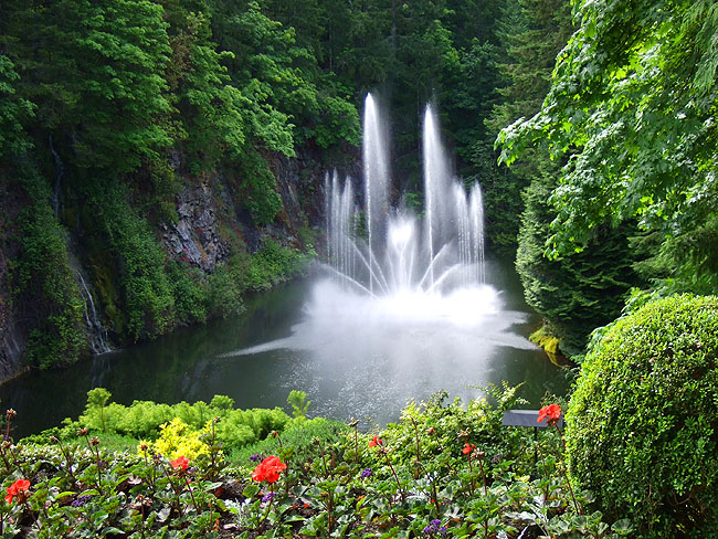 The Ross Fountain At Butchart Gardens Note Waterfall To Left Are A Must See  On Any